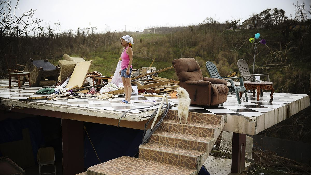 Irma Maldanado Stands With Sussury Her Parrot And Her Dog In What Is Left Of Her Home In Corozal Puerto Rico On September  Joe Raedle Getty Images