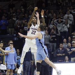 UConn's Terry Larrier (22) during the Columbia Lions vs UConn Huskies men's college basketball game at Gampel Pavilion in Storrs, CT on November 29, 2017.