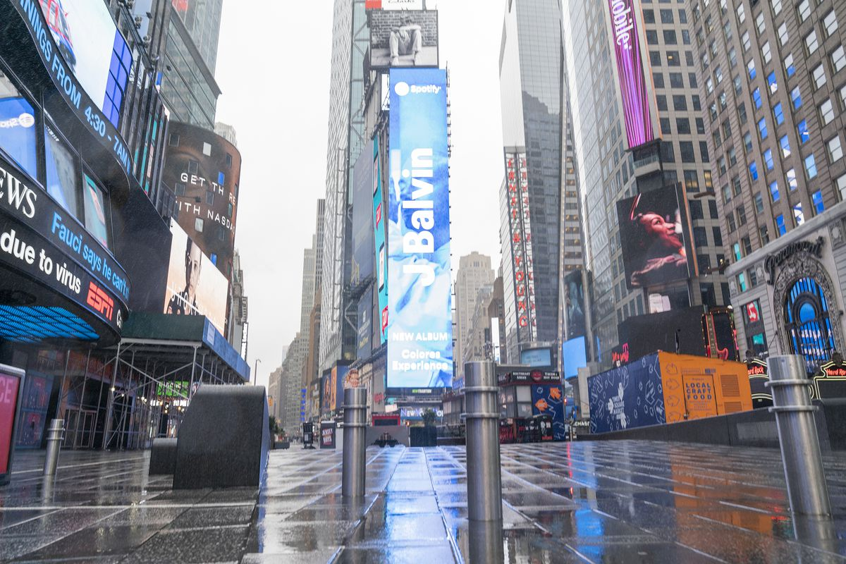 Virtually empty Times Square in Manhattan on first day of...
