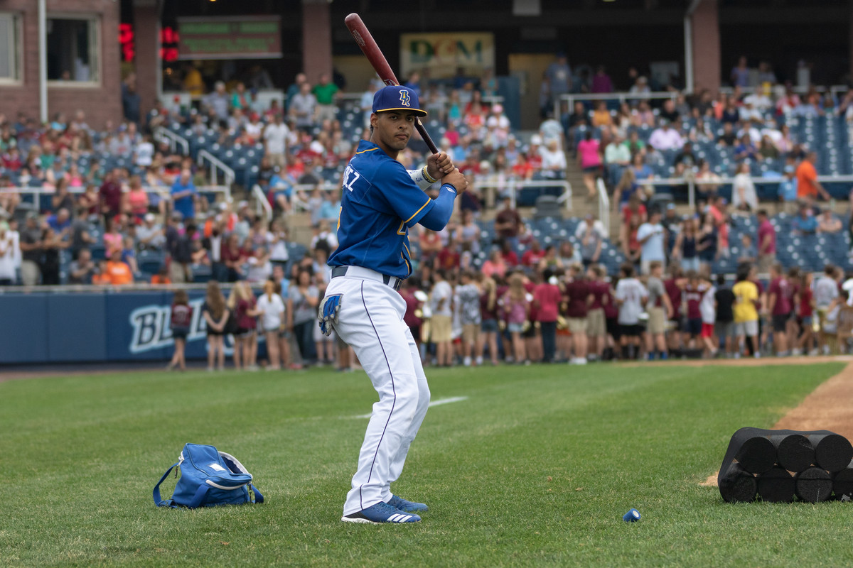 Catcher MJ Melendez before a game for the Wilmington Blue Rocks.