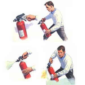 <p><strong>Remember the P-A-S-S system: </strong></p> <p>1. Pull the pin to unlock the handle.<br> 2. Aim low at the base of the fire.<br> 3. Squeeze the handle.<br> 4. Sweep the unit from side to side.</p>