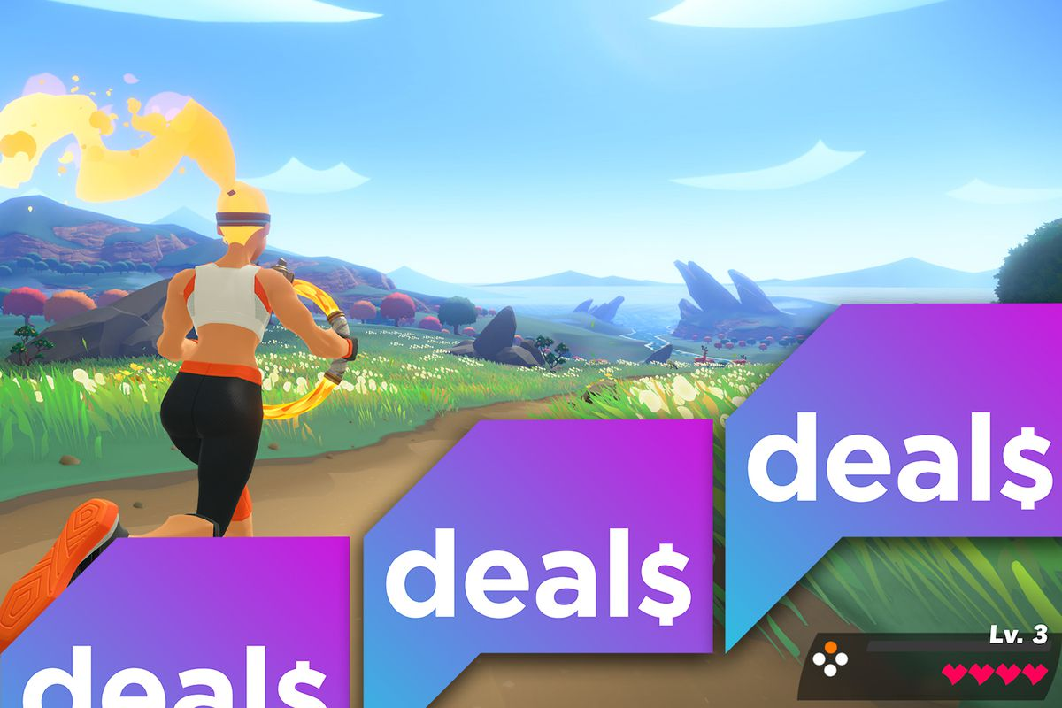 a screenshot from Ring Fit Adventure overlaid with the Polygon Deals logo