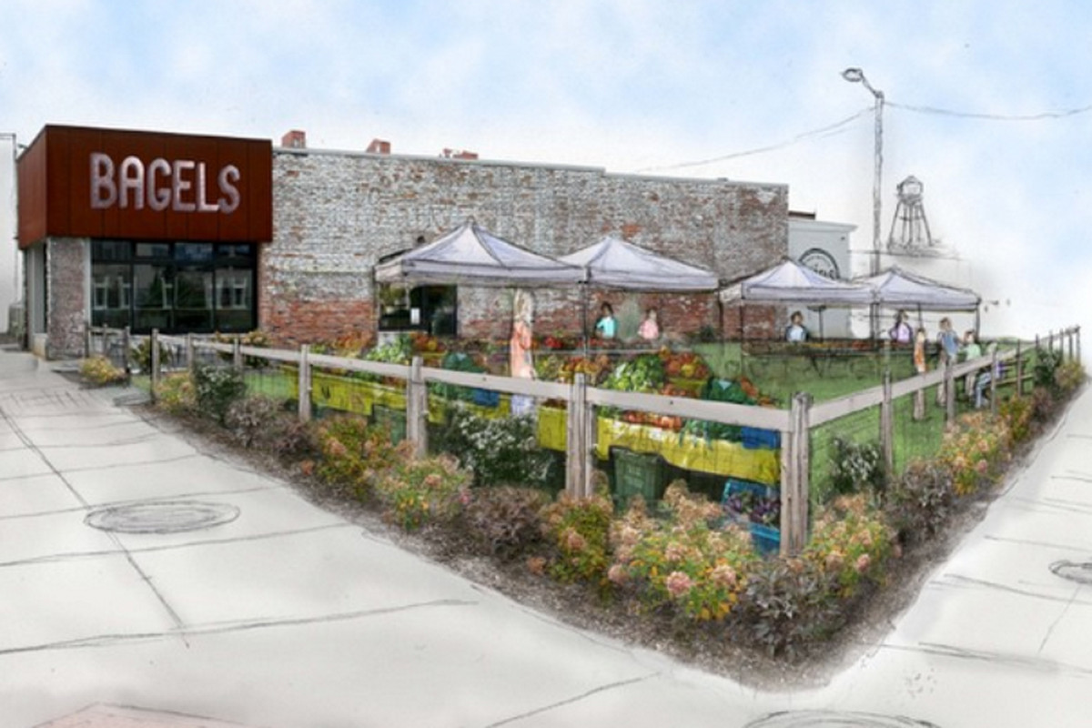 A mockup of the proposed Corktown Farmers Market.