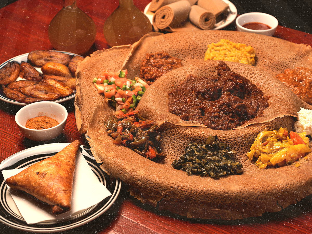 An Ethiopian feast at Rosalind's Restaurant.