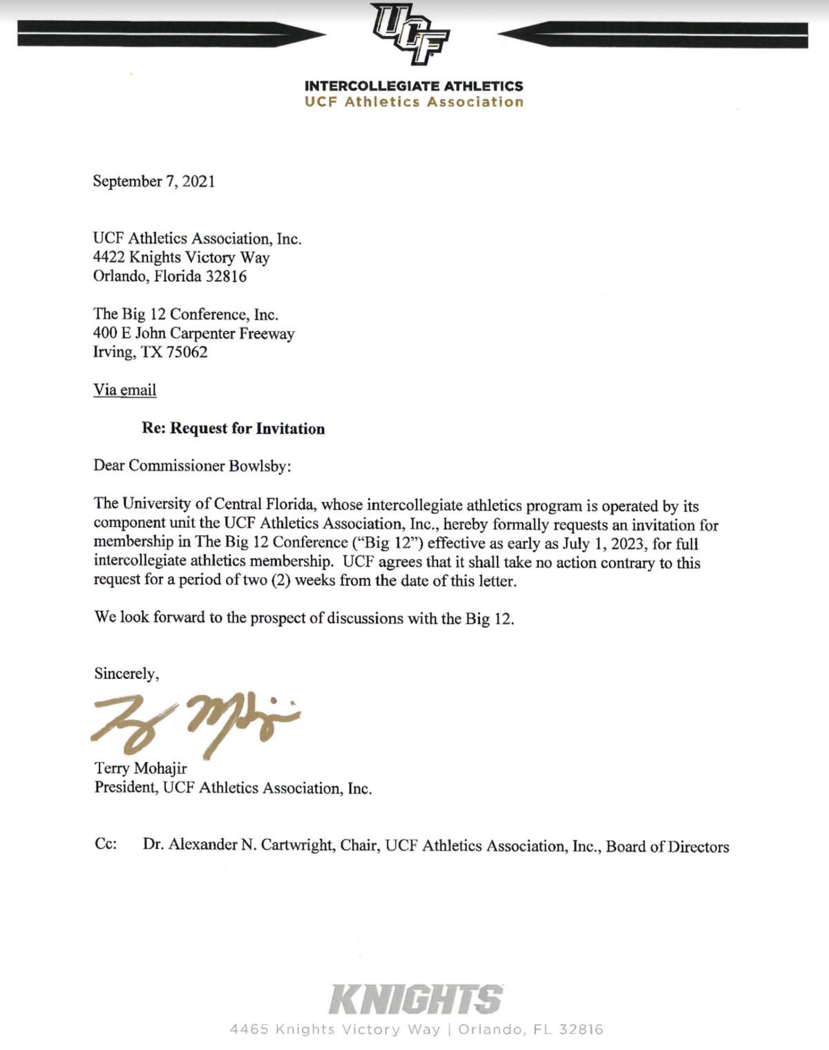 UCF Big 12 letter application