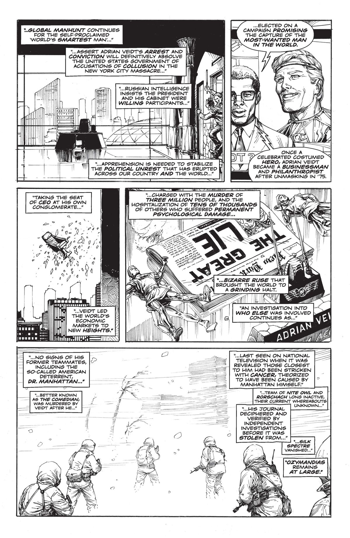 DC Comics' Doomsday Clock #1, page 3, written by Geoff Loeb, drawn by Gary Frank.