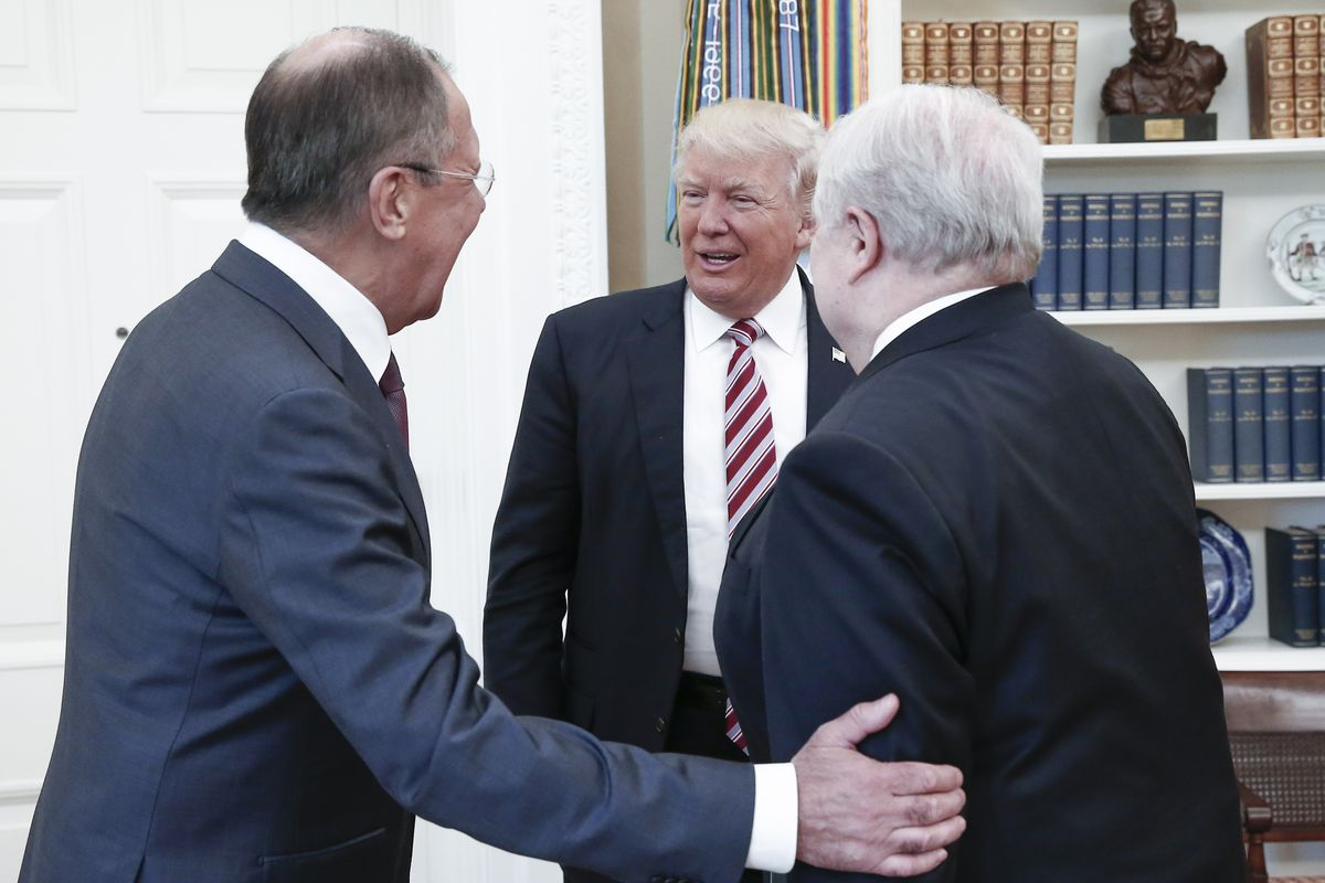 Trump tweets his response to russia classified info story im president trump meets with russias foreign minister sergei lavrov and russian ambassador to the united states sergei kislyak alexander shcherbaktass via kristyandbryce Images