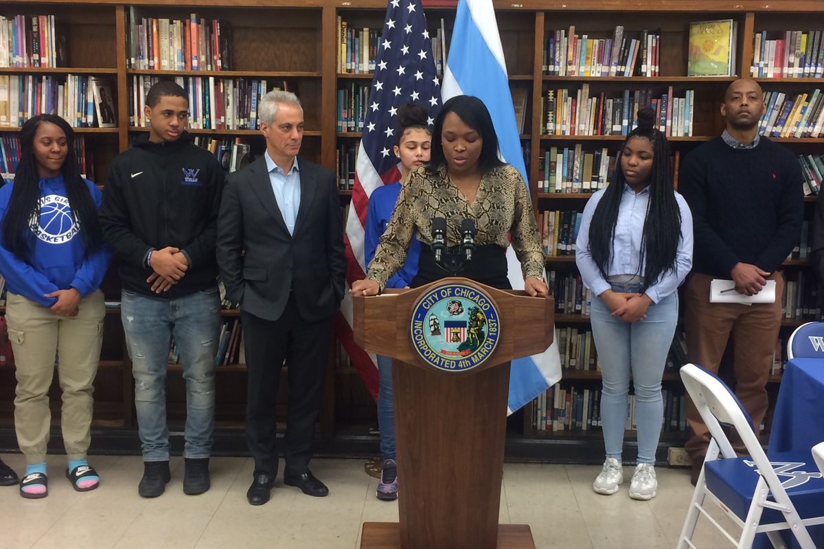 """Schools chief Janice Jackson and Mayor Rahm Emanuel visited Wells High School on Feb. 8 to announce the unveiling of """"Learn. Plan. Succeed."""" progress reports."""