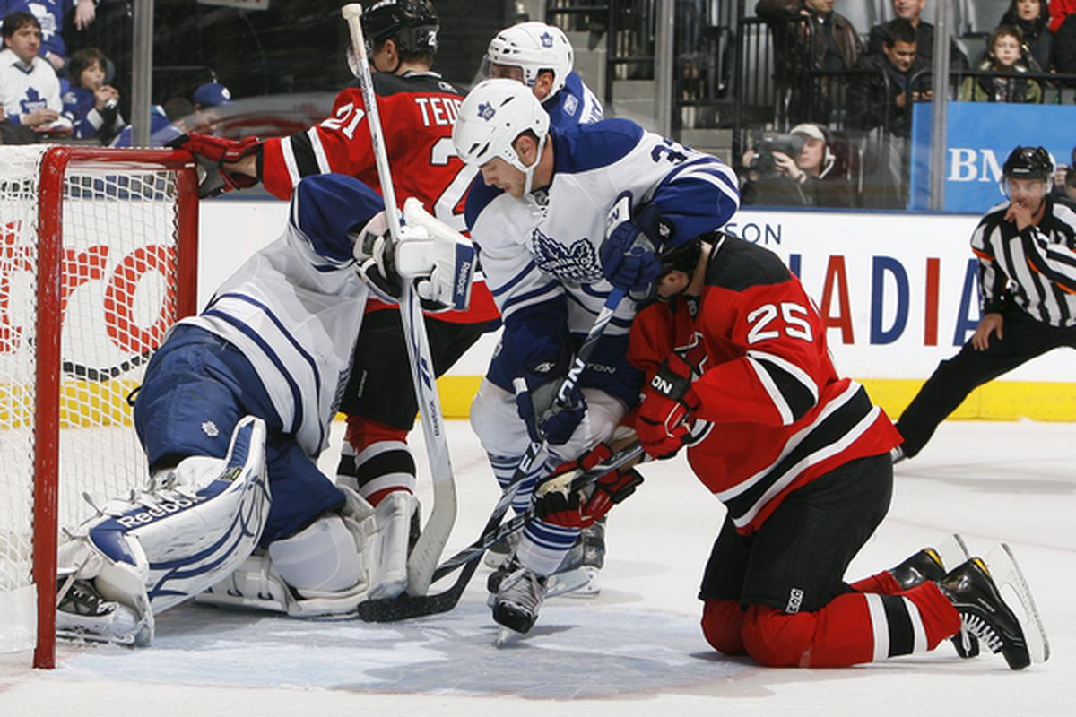 Once again, someone will suggest that the Devils didn't crash the net enough tonight.  Once again, this picture suggests otherwise. (Photo by Abelimages/Getty Images)