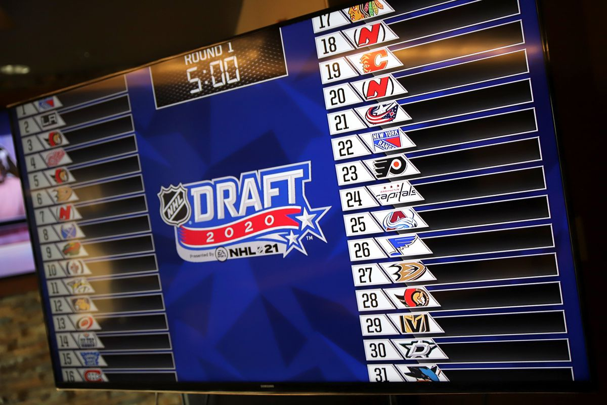 The draft board is seen on the Colorado Avalanche draft set before the first round of the 2020 NHL Entry Draft at Pepsi Center on October 06, 2020 in Denver, Colorado. The 2020 NHL Draft was held virtually due to the ongoing Coronavirus pandemic.