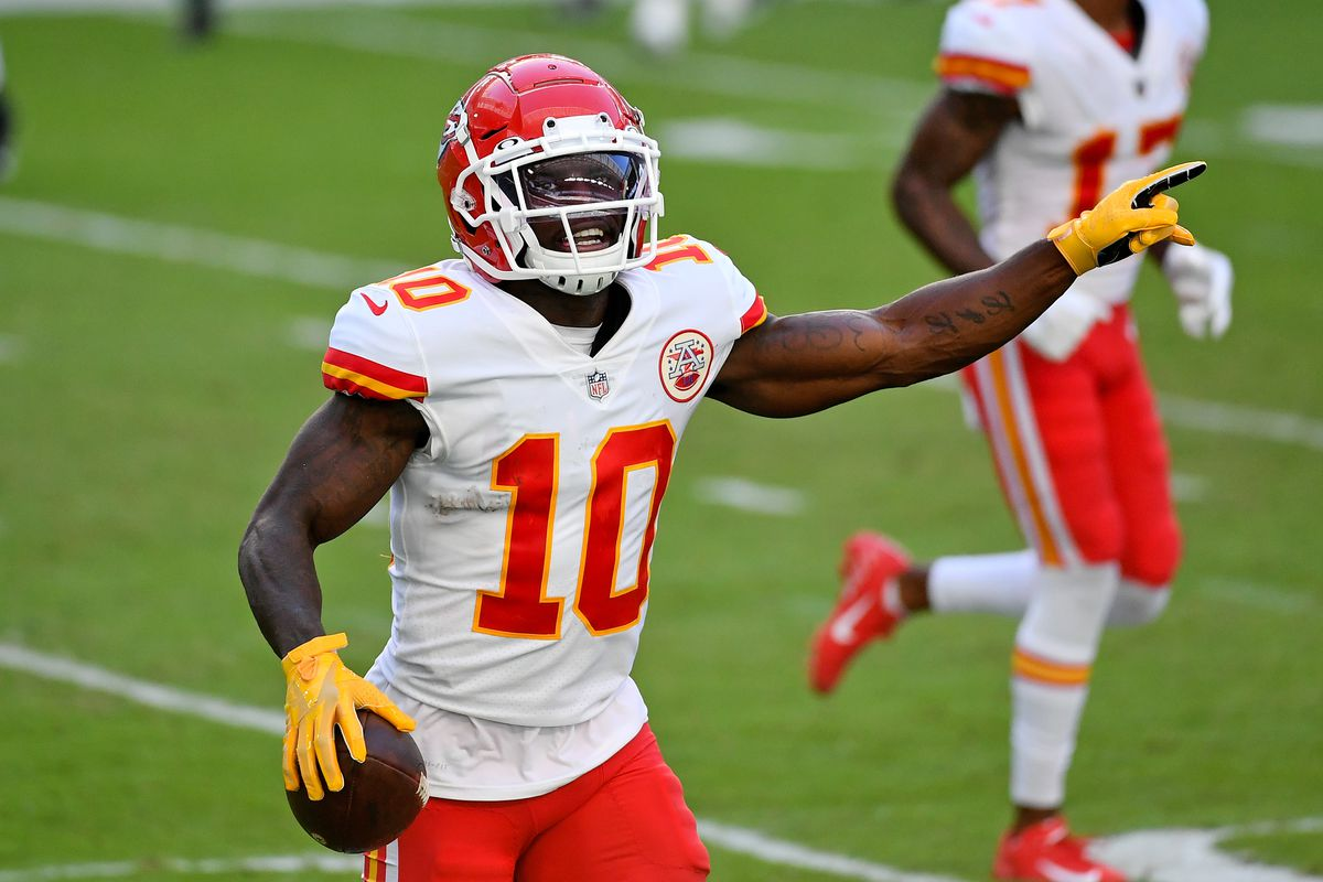 Kansas City Chiefs wide receiver Tyreek Hill (10) celebrates his touchdown against the Miami Dolphins during the second half at Hard Rock Stadium.