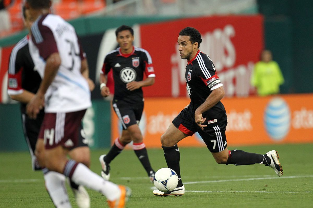 WASHINGTON, DC - MAY 16: Dwayne De Rosario #7 of D.C. United controls the ball against the Colorado Rapids at RFK Stadium on May 16, 2012 in Washington, DC.(Photo by Ned Dishman/Getty Images)