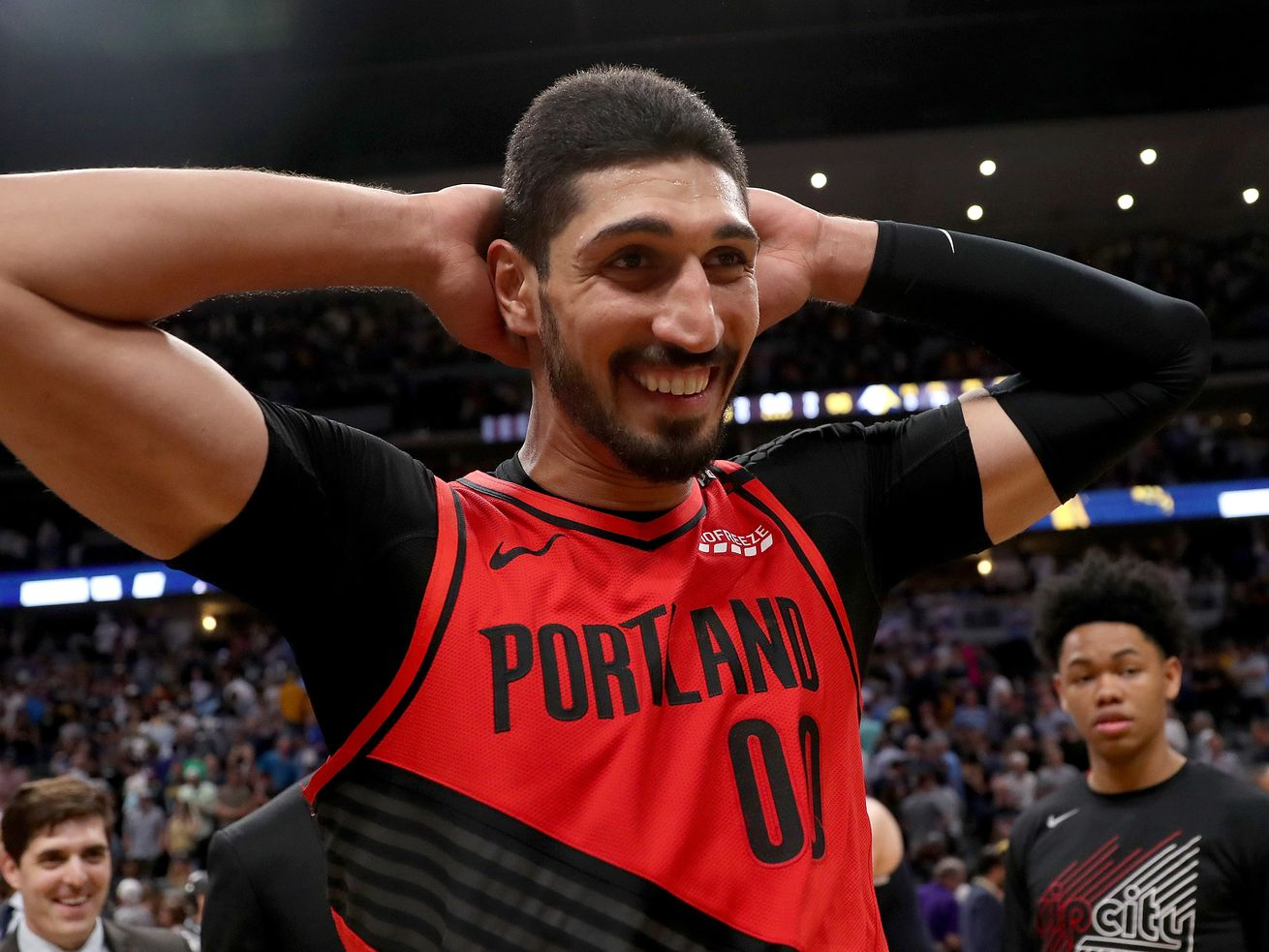 Enes Kanter on May 12, 2019, after the Portland Trail Blazers beat the Denver Nuggets in the NBA Western Conference Semifinals.