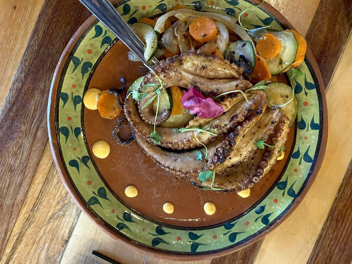 Grilled octopus at Xécora Gastronomía Urbana in El Monte.