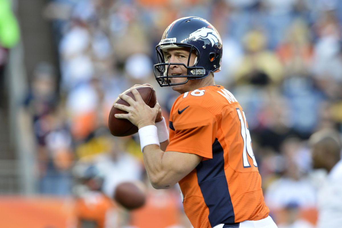 September 9 2012; Denver, CO, USA; Denver Broncos quarterback Peyton Manning (18) warms up before the game against the Pittsburgh Steelers at Sports Authority Field. Mandatory Credit: Ron Chenoy-US PRESSWIRE