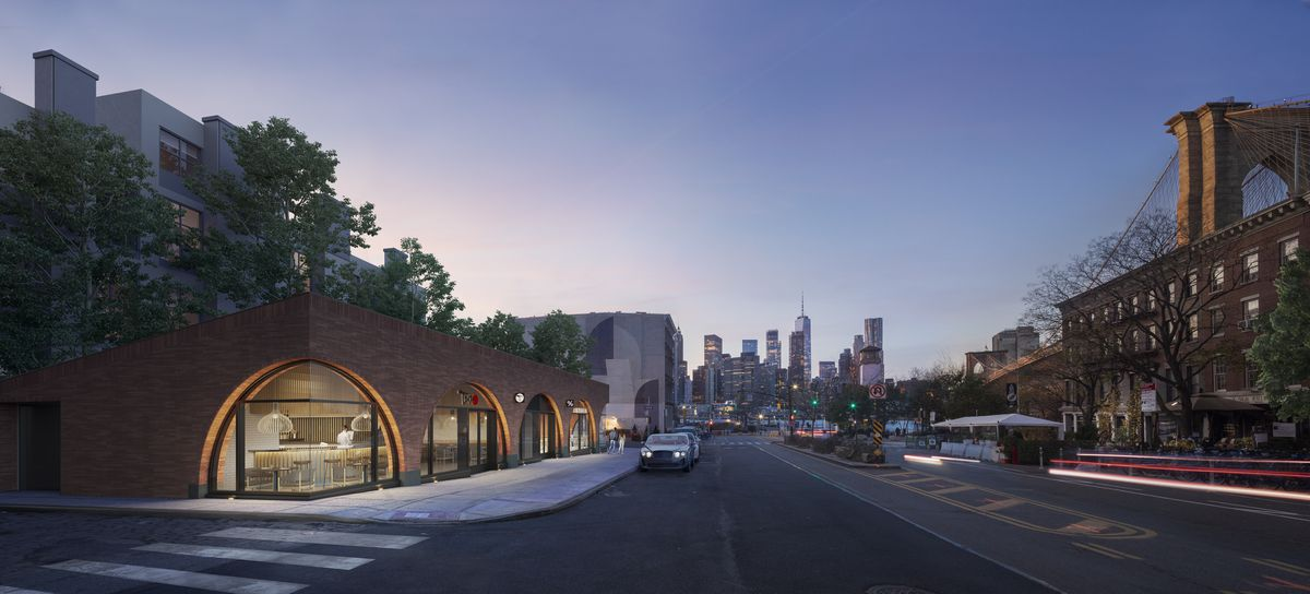A rendering that shows a streetscape in Dumbo with the Manhattan skyline in the distance