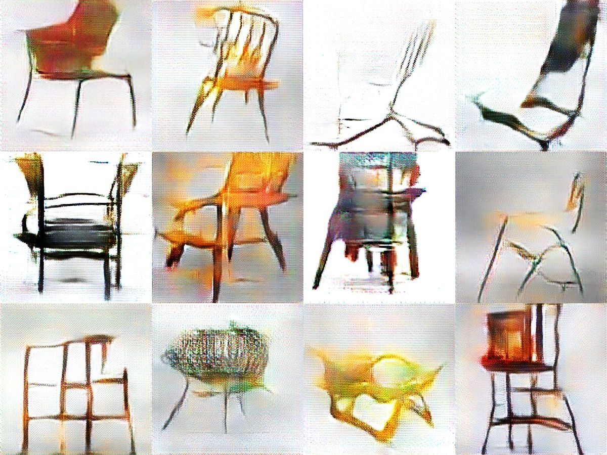 Computer generated sketches of chairs