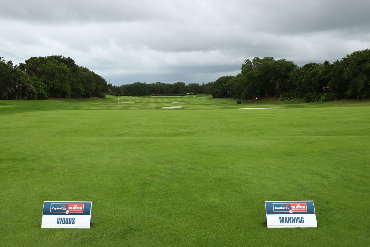 Place markers for Tiger Woods and former NFL player Peyton Manning are displayed on the range prior to The Match: Champions For Charity at Medalist Golf Club on May 24, 2020 in Hobe Sound, Florida.