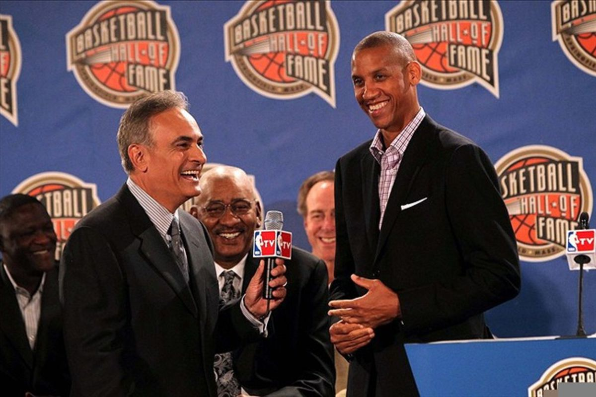 February 24, 2012; Orlando FL, USA;  NBA TV host Vince Cellini talks with basketball hall of fame 2012 finalist Reggie Miller during the NBA Hall of Fame press conference at the Hilton Orlando. Mandatory Credit: Kim Klement-US PRESSWIRE