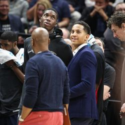 Due to foot surgery New Orleans rookie Frank Jackson isn't dressed for the game against Utah at Vivint Arena in Salt Lake on Friday, Dec. 1, 2017.
