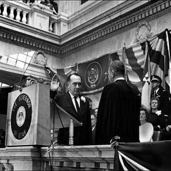 Calvin L. Rampton being sworn in one of three times he entered office.