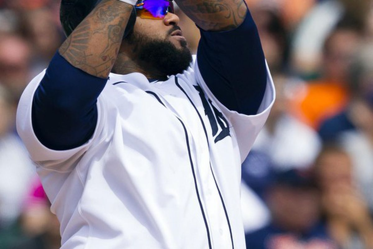 May 6, 2012; Detroit, MI, USA; Detroit Tigers first baseman Prince Fielder (28) hits a home run during the third inning against the Chicago White Sox at Comerica Park. Mandatory Credit: Rick Osentoski-US PRESSWIRE