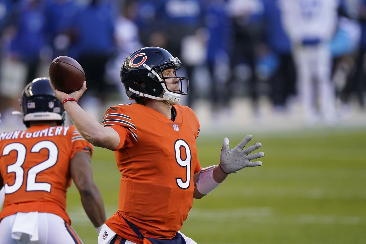 Nick Foles' completion percentage has gone up every week since taking over for Mitch Trubisky against the Falcons.