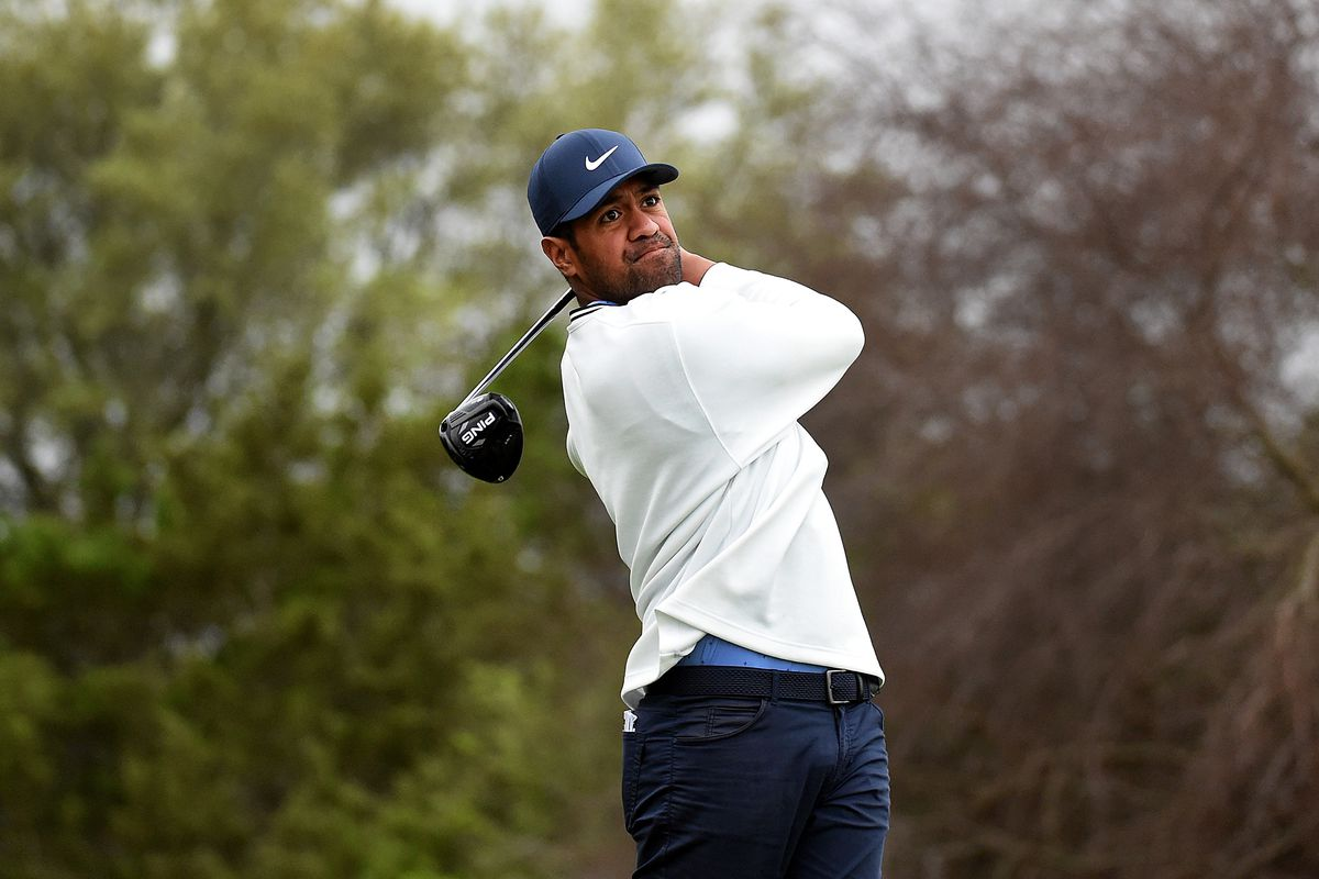 Tony Finau hits his tee shot on the 15th hole during the pro-am prior to the Valero Texas Open at TPC San Antonio on March 31, 2021 in San Antonio, Texas.