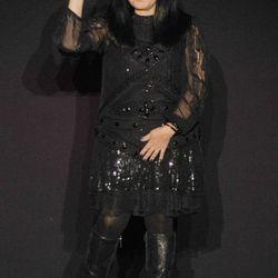 Designer Anna Sui walks the runway