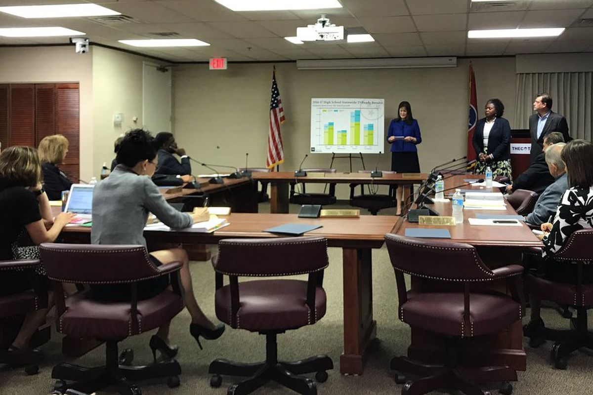 Members of the Tennessee State Board of Education listen to a July presentation about TNReady scores by Education Commissioner Candice McQueen.