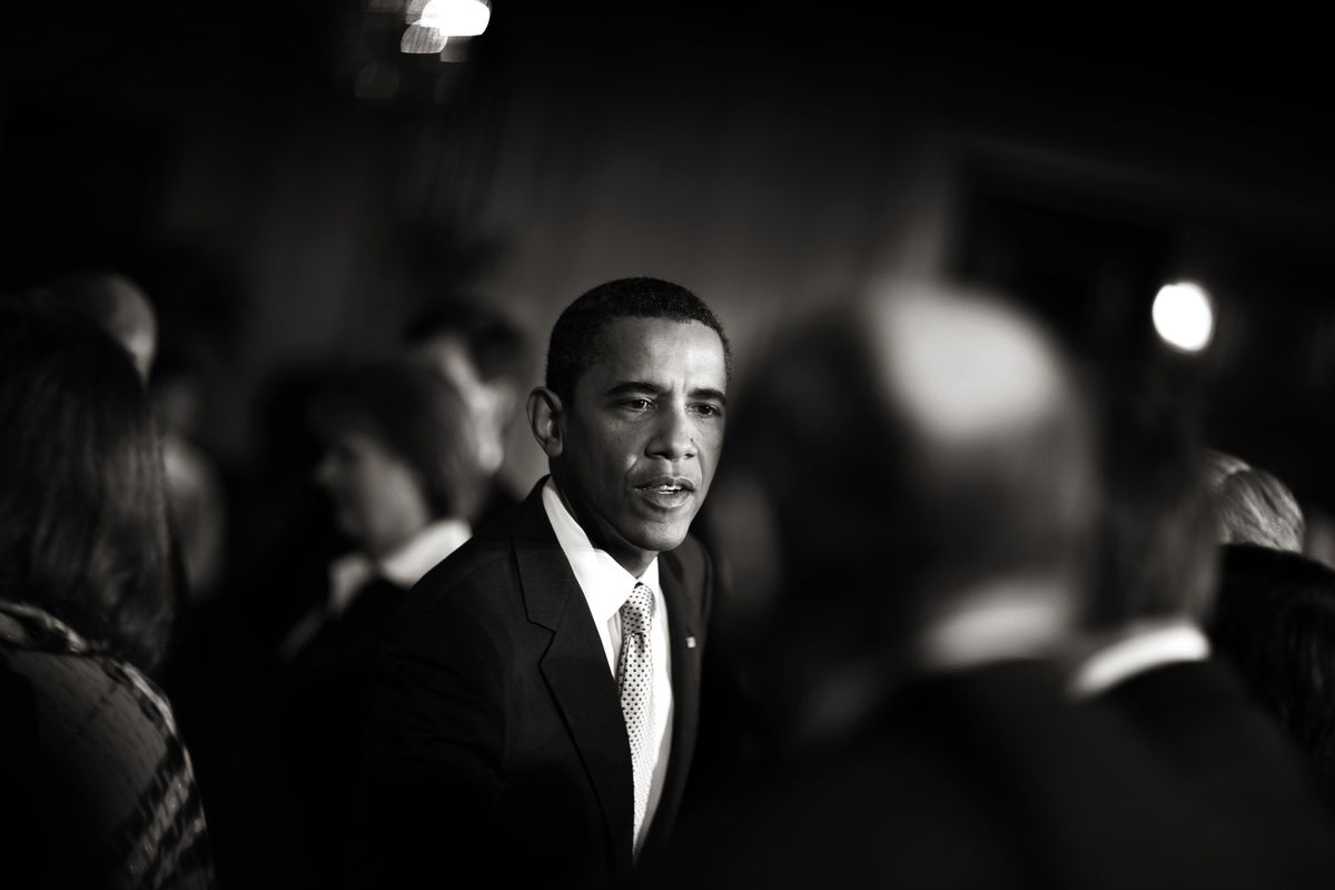 President Obama prepares for Congress to vote on a 789 billion dollar economic stimulus package, on February 13, 2009.