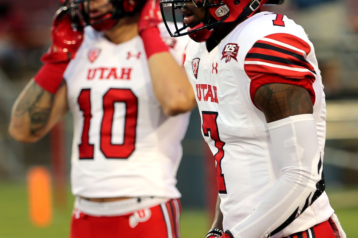 Utah Utes wide receiver Jameson Field (10) and Utes wide receiver Demari Simpkins (7) get warmed up as Utah and Stanford prepare to play a football game in Palo Alto, California, on Saturday, Oct. 6, 2018.