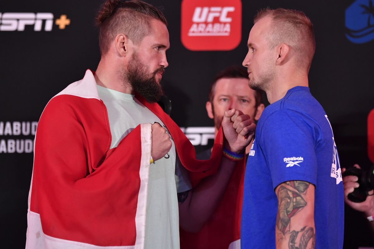 Opponents Nicolas Dalby of Denmark and Jesse Ronson of Canada face off during the UFC Fight Night weigh-in inside Flash Forum on UFC Fight Island on July 24, 2020 in Yas Island, Abu Dhabi, United Arab Emirates.