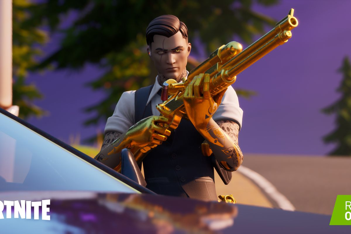A Fortnite character loads a weapon with RTX ray tracing turned on
