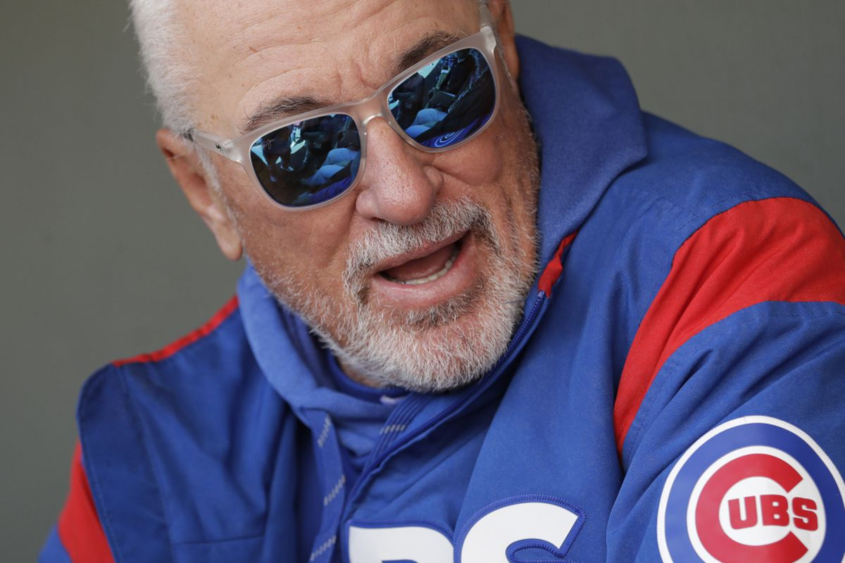cc2f03214 Chicago Cubs manager Joe Maddon talks with media members before a spring  training baseball game against the Oakland Athletics Wednesday, March 13,  2019, ...