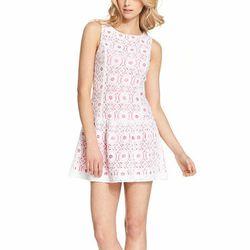"<b>Kensie</b> Sleeveless High-Neck Lace Dress, <a href=""http://www1.macys.com/shop/product/kensie-dress-sleeveless-high-neck-lace-shift?ID=823218&CategoryID=5449&LinkType=#fn=COLOR%3DWhite%26PRICE%3D50.0%7C99.99000000000001%26sp%3D1%26spc%3D54%26ruleId%3D"