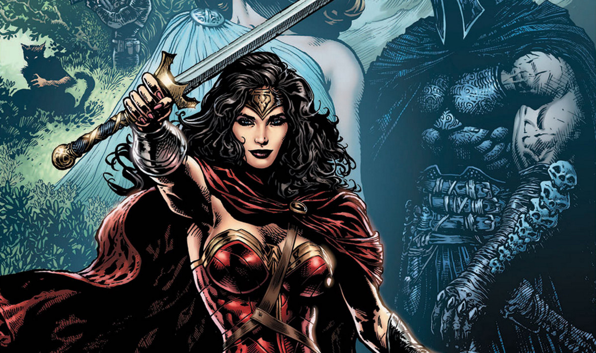 Wonder Woman brandishes her sword on the cover of Wonder Woman: The Lies, DC Comics (2016).