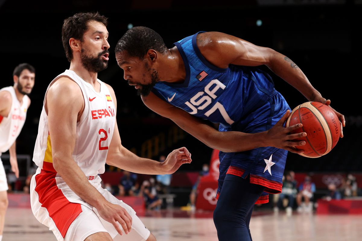 Kevin Durant of Team United States drives to the basket against Sergio Llull of Team Spain during the first half of a Men's Basketball Quarterfinal game on day eleven of the Tokyo 2020 Olympic Games at Saitama Super Arena on August 03, 2021 in Saitama, Japan.
