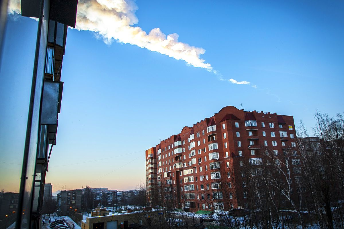 The trail of the meteorite that landed in Chelyabinsk, Russia, in February 2013.