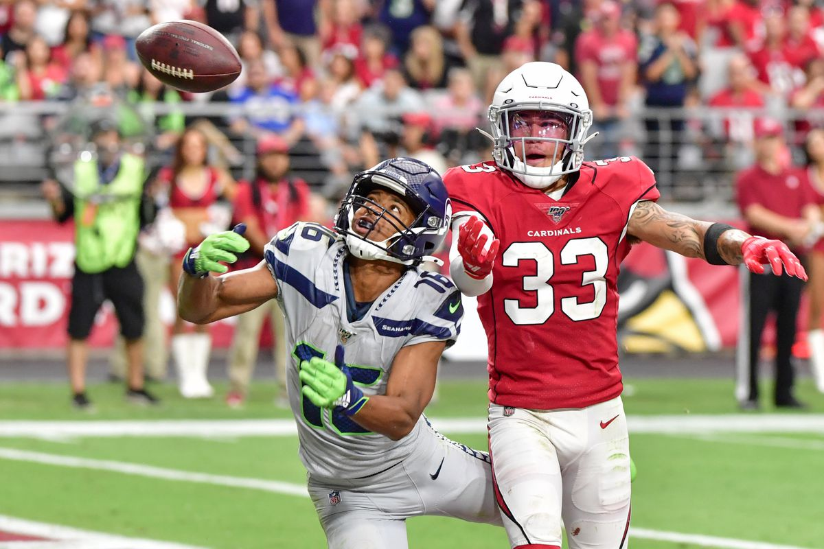 Arizona Cardinals cornerback Byron Murphy breaks up a pass intended for Seattle Seahawks wide receiver Tyler Lockett during the second half at State Farm Stadium.