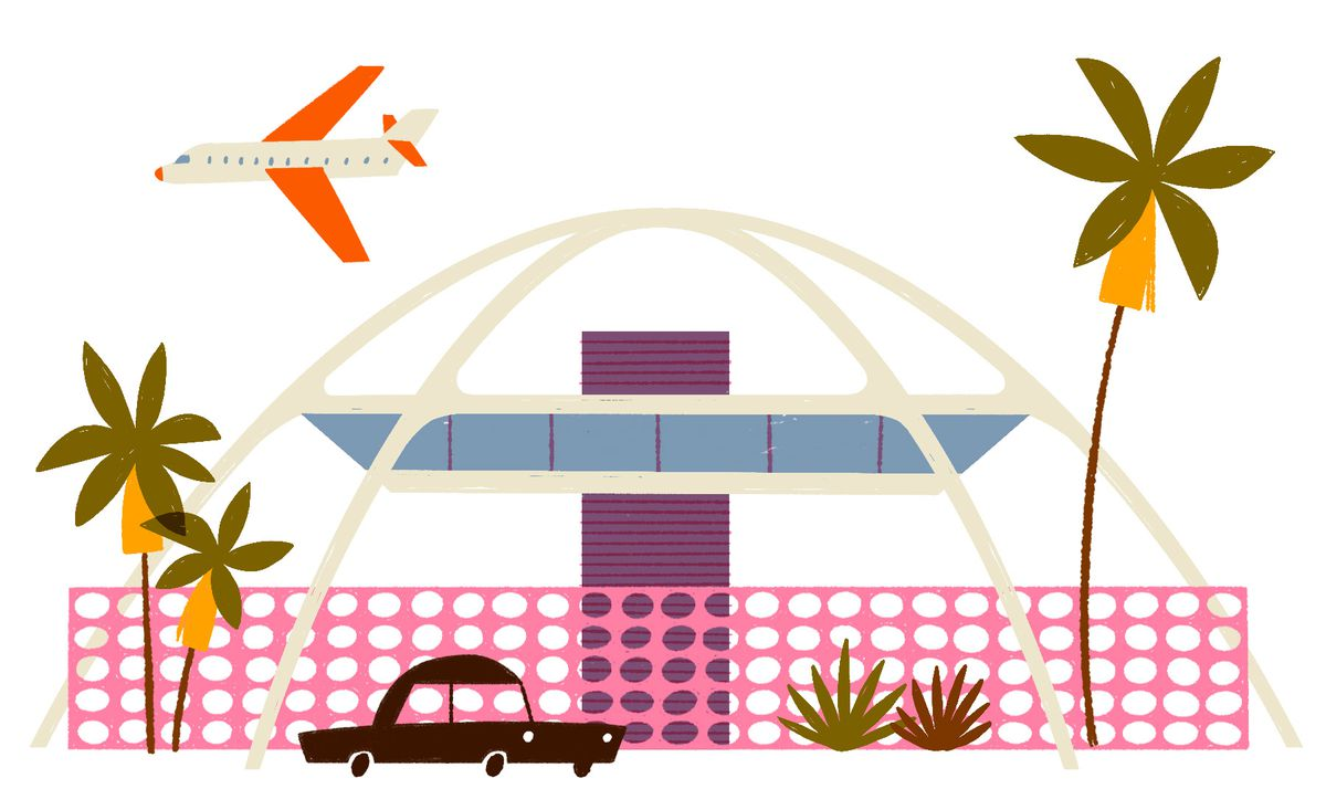 A modern building with floor to ceiling windows floats in the center of four radially extending arches, the top of the arches form a dome shape. In front of the structure is a fence with circle cut-outs. Illustration.