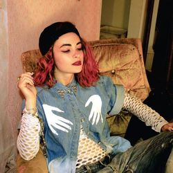 """CV x Nail Tite <a href=""""http://nailtiteshop.swrv.biz/product/tite-top-ombre-chambray-hands"""">Chambray Top</a>, $34"""