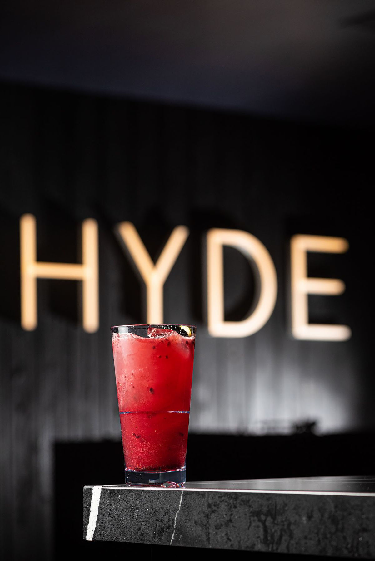 A bright red cocktail.