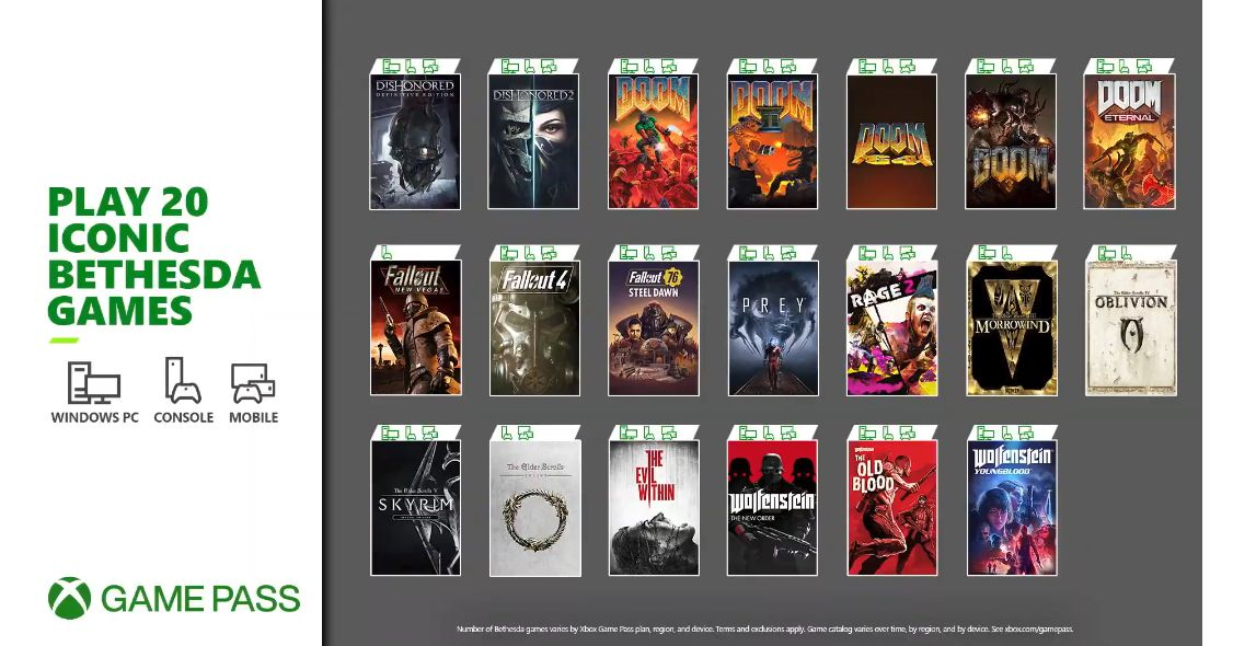 20 Bethesda games will be available on Xbox Game Pass tomorrow