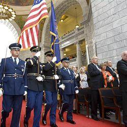 The Utah National Guard Honor Guard presents the colors during Lt. Gov. Gary Herbert's inauguration as Utah's new governor Tuesday  at the Utah State Capitol in Salt Lake City.
