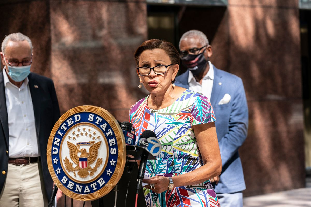 Congressional Rep. Nydia Velázquez speaks in Manhattan on Sept. 7, 2020.