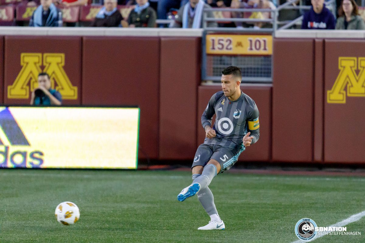 September 22, 2018 - Minneapolis, Minnesota, United States - Minnesota United defender Francisco Calvo (5) passes the ball during the match against the Portland Timbers at TCF Bank Stadium.