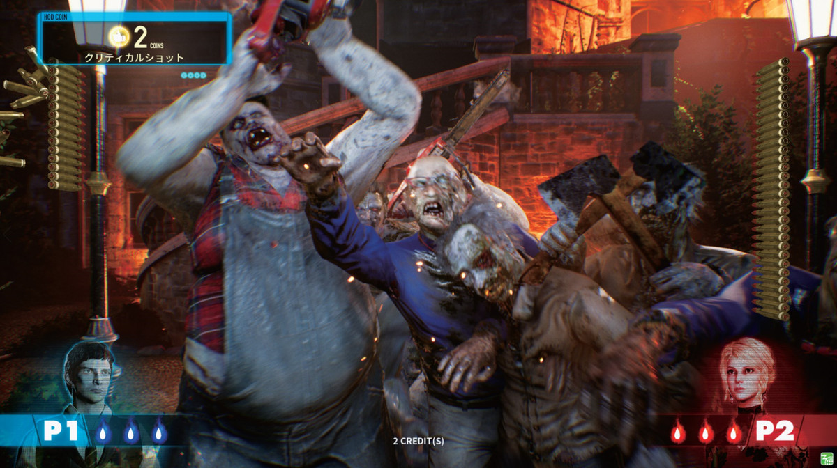Zombies wielding axes and a chainsaw lumber towards the screen in House of the Dead Scarlet Dawn