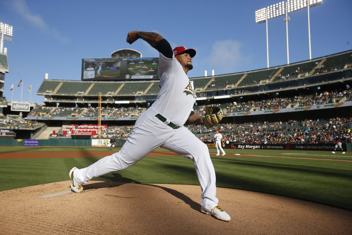 Frankie Montas #47 of the Oakland Athletics warms up from the mound before the game against the Boston Red Sox at RingCentral Coliseum on July 2, 2021 in Oakland, California.
