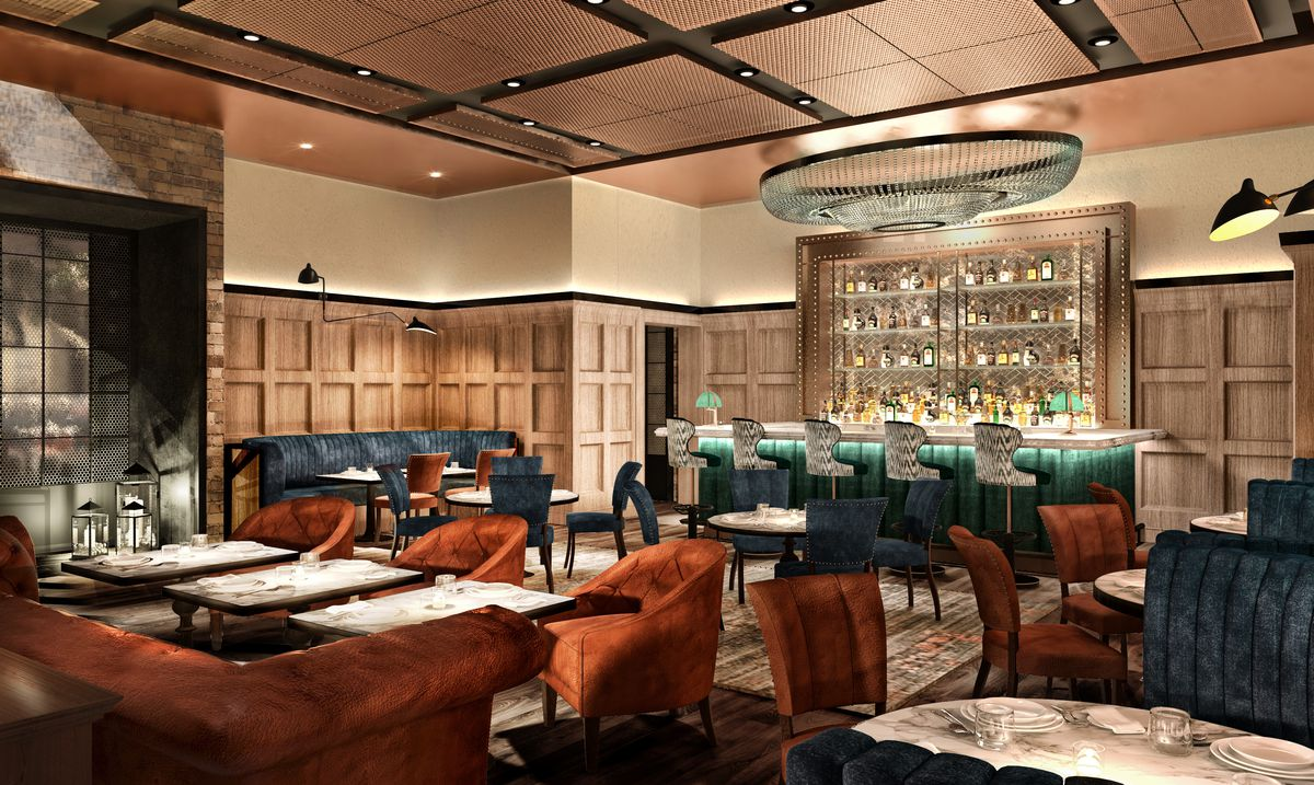 A rendering of the lounge at Catch